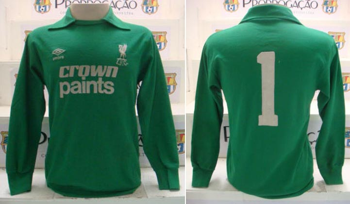 d9a3ae715 1983-84 Home player shirt short sleeve № 1Bruce Grobbelaar (big CROWN  PAINTS logo two lines