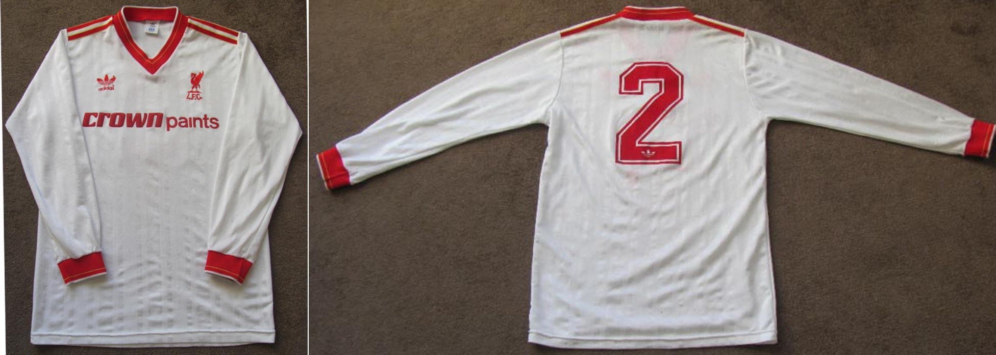 22afadb6a 1985-86 Away player shirt long sleeve № 2 Phil Neal (CROWN PAINTS logo one  line) -