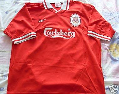 6088e594295 1996-97 Premier League Home player shirt short sleeve № 15 Patrik Berger  (big Carlsberg logo) - image with site The Liverpool Shirts Museum ...