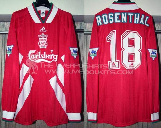 f6e217ef6c6 1993-94 Premier League Home player shirt long sleeve № 18 Ronny Rosenthal  (small Carlsberg logo) - image with site The Liverpool Shirts Museum ...