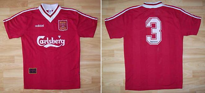 82f1098fccb 1995-96 UEFA Cup Home player shirt long sleeve № 2 Rob Jones (smaller  Carlsberg logo) - image with site The Liverpool Shirts Museum  www.facebook.com  ...
