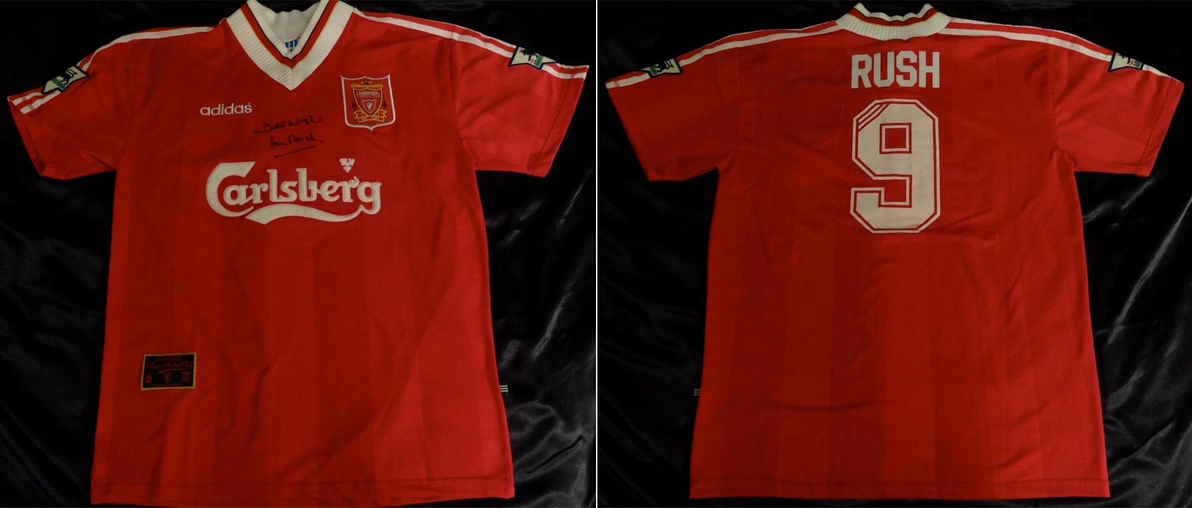 072ea861ff2 1995-96 Premier League Home player shirt long sleeve № 9 Ian Rush (big  Carlsberg logo) - image with site Anfield Relics  www.facebook.com anfield.relics