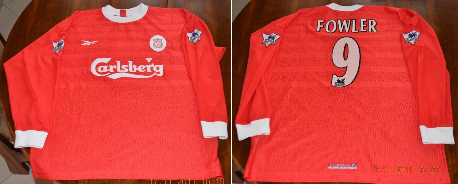 3e2cd5c2a5a 1998-99 Premier League Home player shirt short sleeve № 9 Robbie Fowler  (big Carlsberg logo) - image with site Liverpool Match Shirts ...
