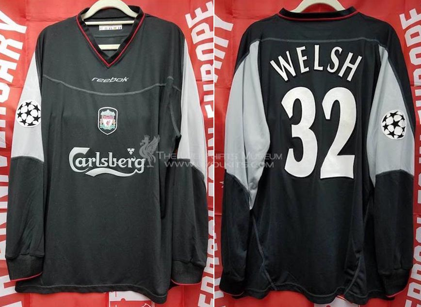 5b5a109cd14 2002-03 Champions League Away player shirt long sleeve № 38 John Welsh  (small Carlsberg logo) - image with site The Liverpool Shirts Museum ...