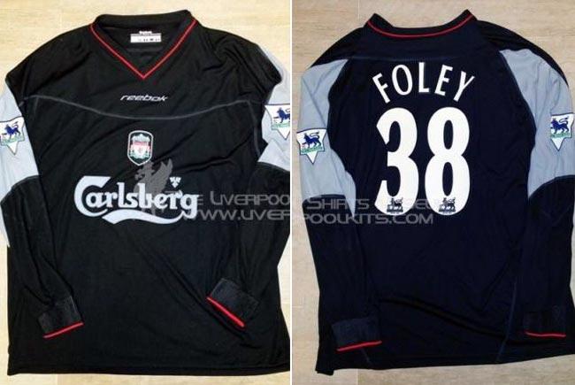 f9f4e02ec03 2002-03 Premier League Away player shirt long sleeve № 38 Michael  Foley-Sheridan (big Carlsberg logo) - image with site The Liverpool Shirts  Museum ...
