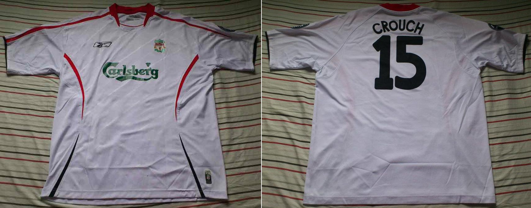 09d18ef21 2005-06 Champions League Away player shirt short sleeve № 15 Peter Crouch  (small Carlsberg logo) - image with site  www.facebook.com LiverpoolShirtsCollector