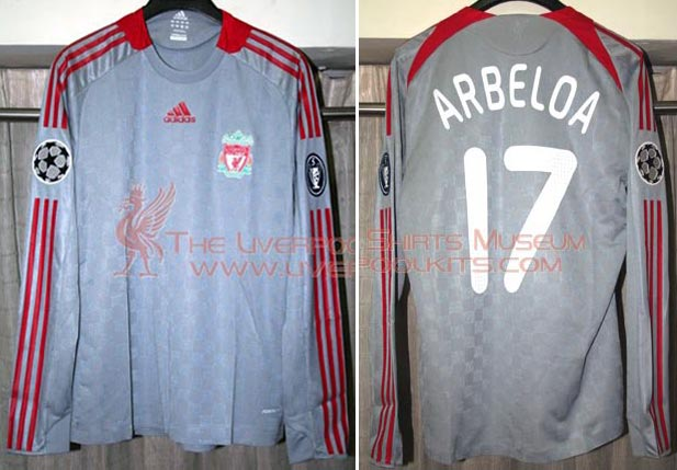 91f23f2e1 2008-09 Champions League Away player shirt long sleeve № 17 Alvaro Arbeloa  (without Carlsberg logo) - image with site The Liverpool Shirts Museum ...