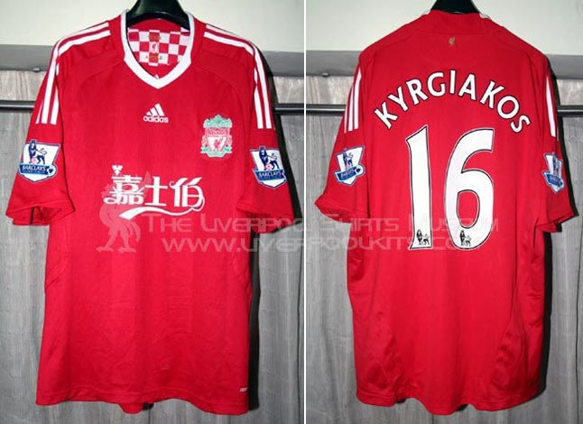 757d4b761 2009-10 Premier League Home player shirt short sleeve № 8 16 Sotirios  Kyrgiakos (china Carlsberg logo) - image with site The Liverpool Shirts  Museum ...