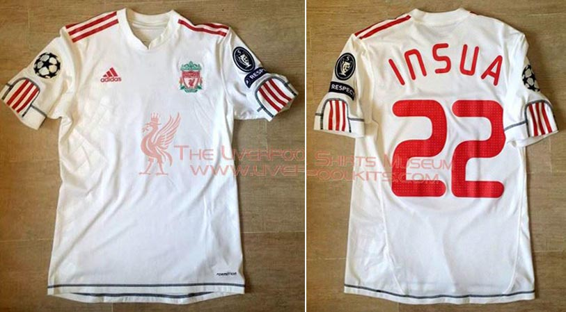 b70ee999613 2009-10 Champions League Third player shirt short sleeve № 22 Emiliano  Insua (without Carlsberg logo) - image with site The Liverpool Shirts Museum  ...