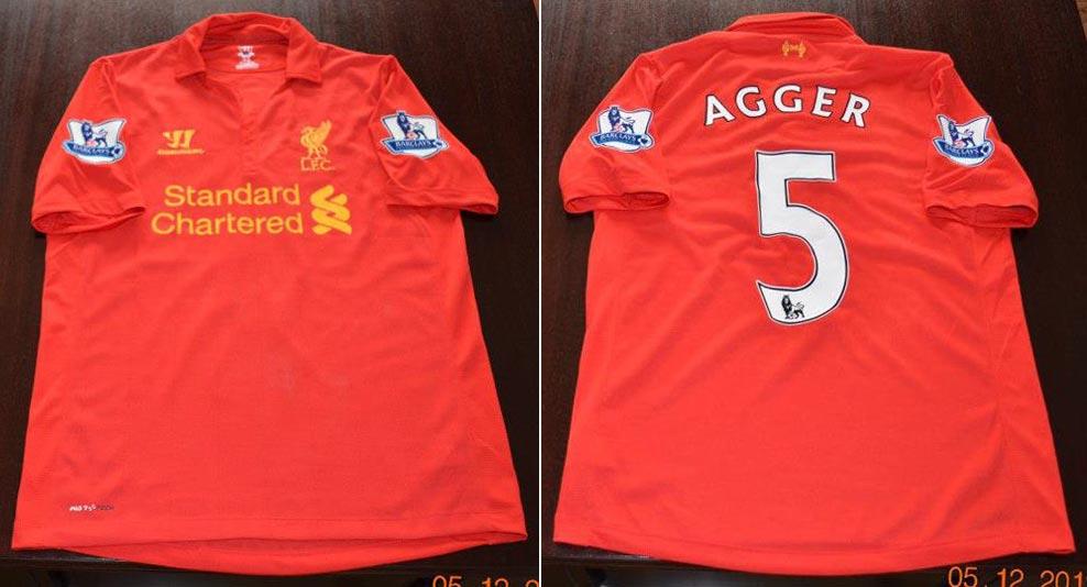 814d24ed4 2012-13 Premier League Home player shirt short sleeve № 5 Daniel Agger -  image with site Liverpool Match Shirts  www.facebook.com liverpoolmatch.shirts