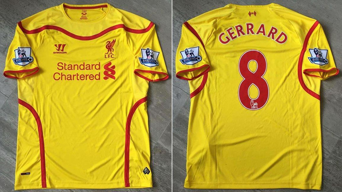 f7aa39ab0 2014-15 Premier League Away player shirt short sleeve № 8 Steven Gerrard  (worn) - image with site The Liverpool Shirts Museum www.facebook.com  ...