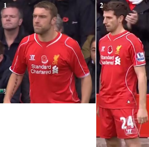 f38b5813f warrior liverpool fc home jersey 2014 2015  left to right 1st image rickie  lambert in home premier league match versus chelsea (08.11
