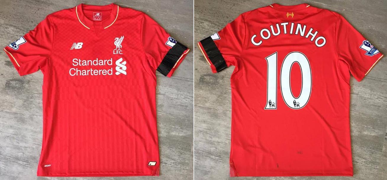 012724edbc0 2015-16 Premier League Home player shirt short sleeve № 10 Philippe  Coutinho (worn) - image with site The Liverpool Shirts Museum  www.facebook.com  ...