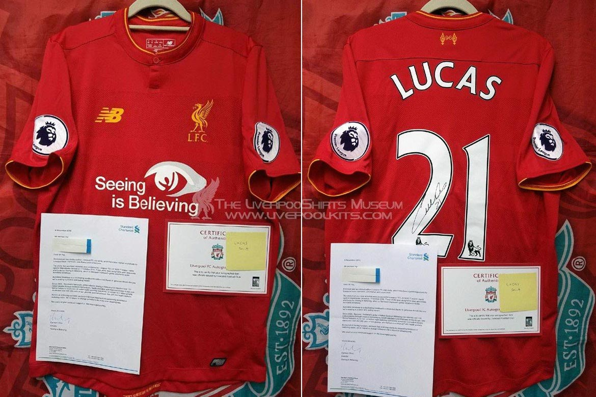 2016-17 Premier League Home player shirt short sleeve № 21 Lucas Leiva  (printed Seeing is Believing b8344f184