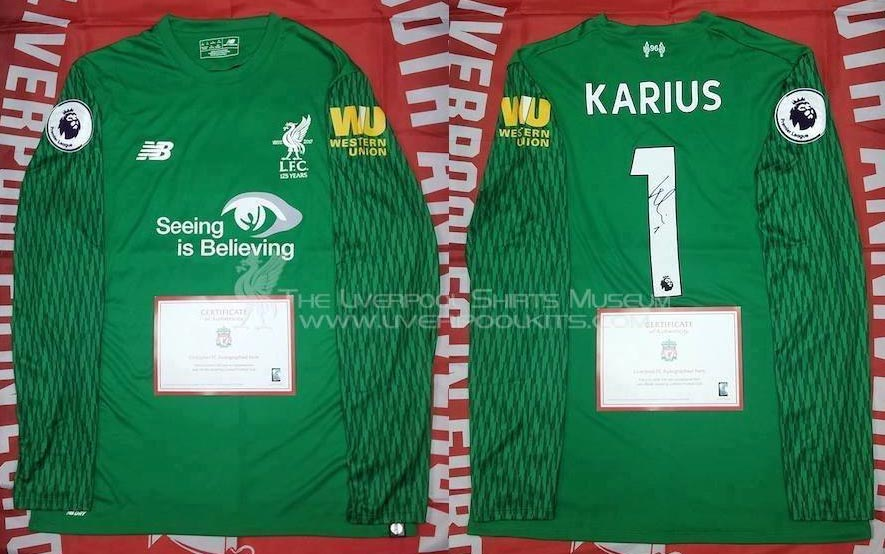 2017-18 Premier League Home goalkeeper shirt long sleeve № 1 Louis Karius  (small printed Seeing is Believing) - image with site www.facebook.com  ... 1f67d6f78