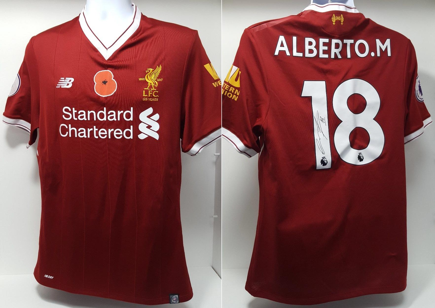 5c11907ea65 2017-18 Premier League Home player shirt short sleeve № 18 Alberto Moreno  (poppy badge