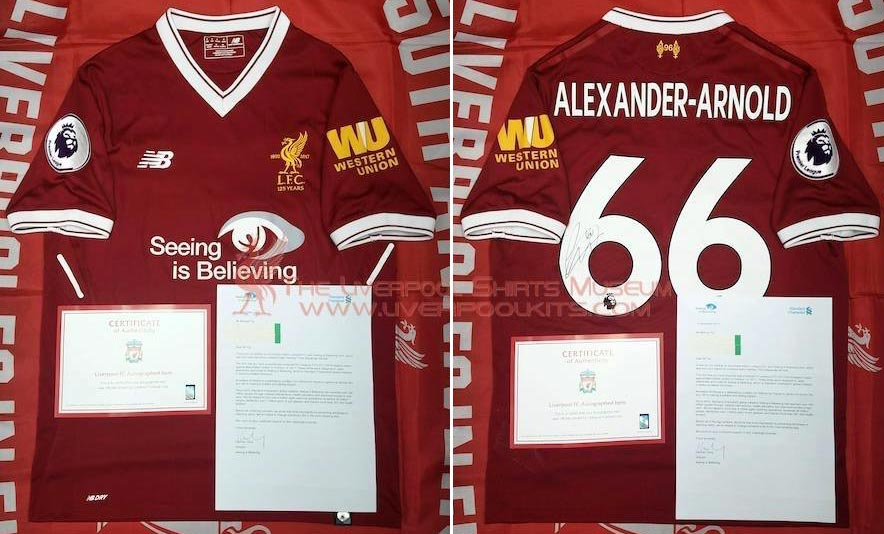 eb88c2d65a4 2017-18 Premier League Home player shirt short sleeve № 66 Trent  Alexander-Arnold (small printed Seeing is Believing logo