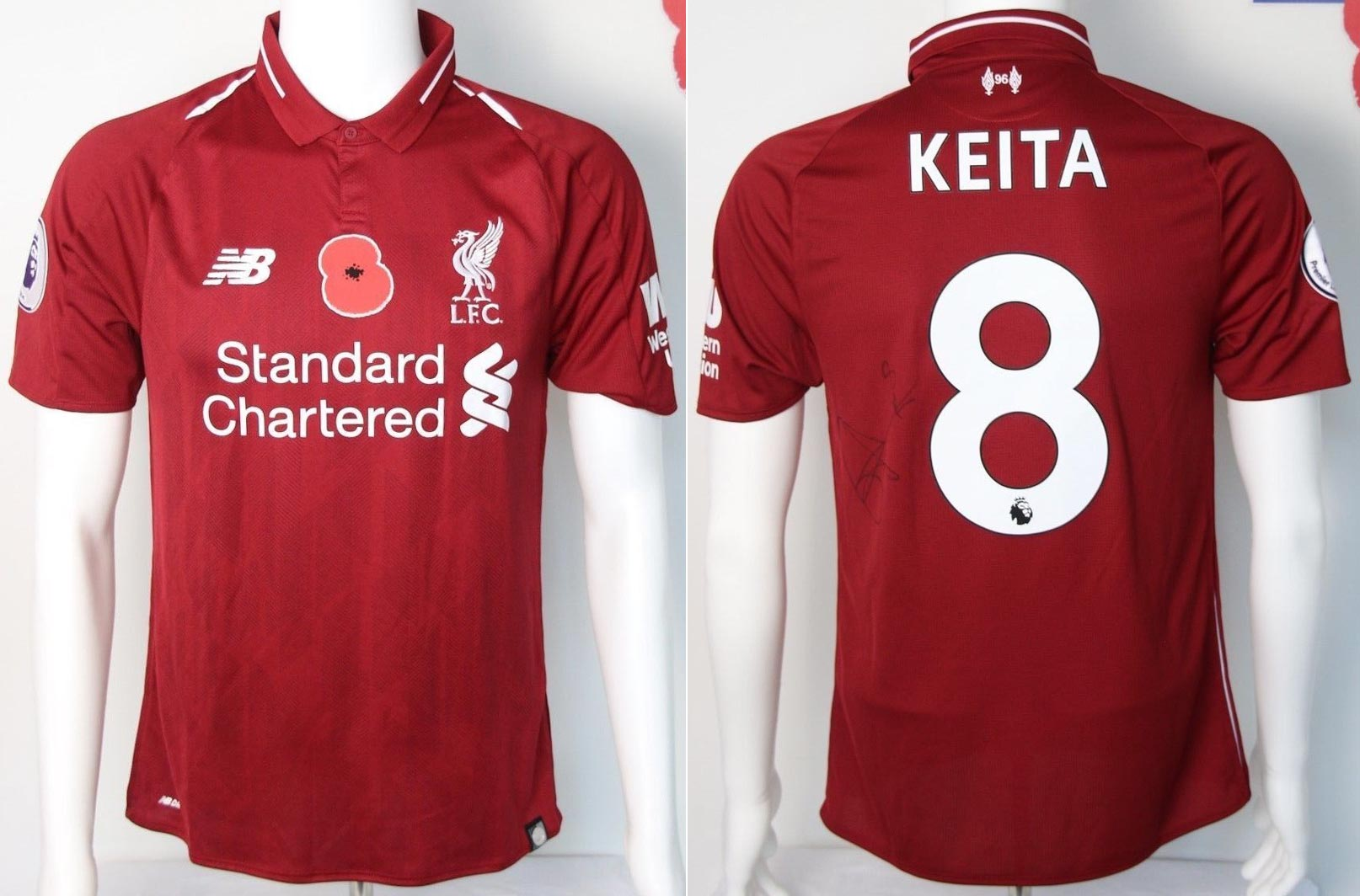 2525d498f 2018-19 Premier League Home player shirt short sleeve № 8 Naby Keita (poppy  badge